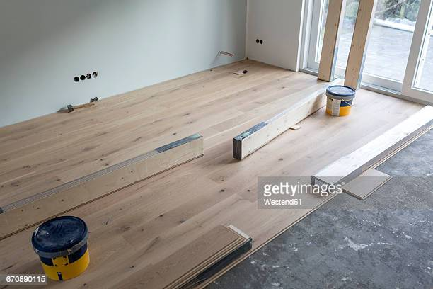 Laying of parquet in a house