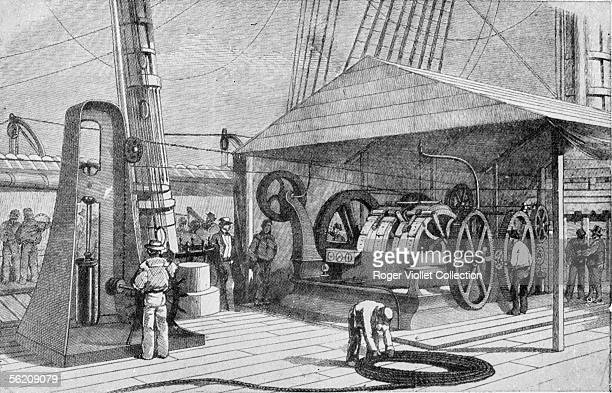 Laying of the first transatlantic telegraph cable by the Agamemnon in 1857 Engraving