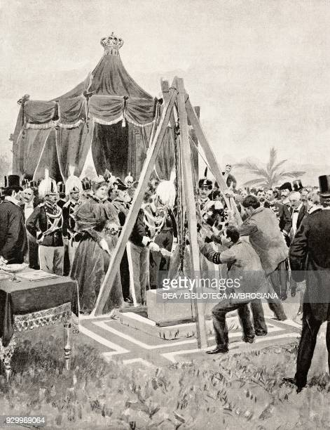 Laying the foundation stone of the monument to Carlo Alberto Rome Italy drawing by Edoardo and Fortunino Matania from L'Illustrazione Italiana Year...