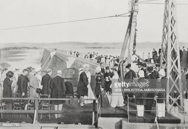 Laying the last stone of the Aswan water reservoir, Lord Cromer receiving the Khedive Abbas Hilmi II and the Duke of Connaught, Egypt, photograph by...
