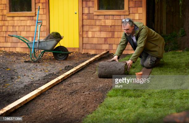 laying turf around the man cave - turf stock pictures, royalty-free photos & images