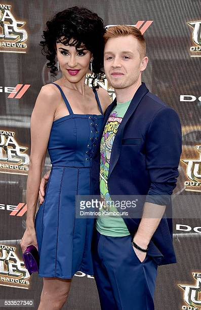 Layla Alizada and Noel Fisher attend the Teenage Mutant Ninja Turtles Out Of The Shadows World Premiere at Madison Square Garden on May 22 2016 in...