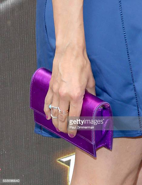 Layla Alizada purse detail at the Teenage Mutant Ninja Turtles Out Of The Shadows World Premiere at Madison Square Garden on May 22 2016 in New York...