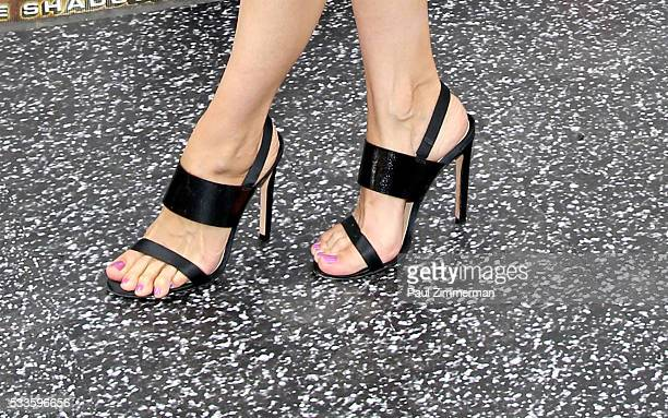 Layla Alizada shoe detail at the Teenage Mutant Ninja Turtles Out Of The Shadows World Premiere at Madison Square Garden on May 22 2016 in New York...