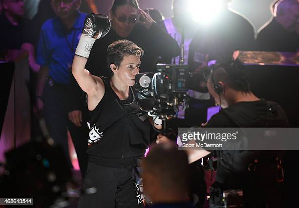 Layla McCarter celebrates her win over Diana Prazak during BKB 2 at the Mandalay Bay Events Center on April 4 2015 in Las Vegas Nevada