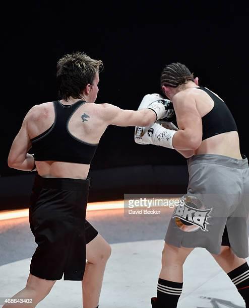 Layla McCarter fights Diana Prazak during BKB 2 Big Knockout Boxing at the Mandalay Bay Events Center on April 4 2015 in Las Vegas Nevada