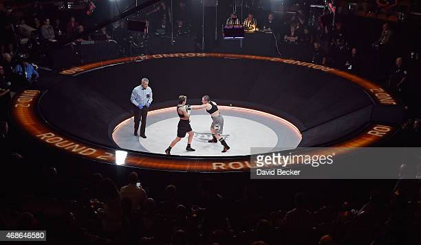Layla McCarter fights Diana Prazak in The Pit during BKB 2 Big Knockout Boxing at the Mandalay Bay Events Center on April 4 2015 in Las Vegas Nevada