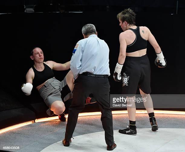 Layla McCarter knocks down Diana Prazak during BKB 2 Big Knockout Boxing at the Mandalay Bay Events Center on April 4 2015 in Las Vegas Nevada