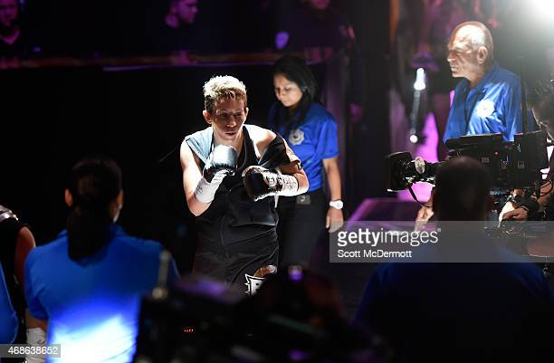 Layla McCarter makes her way to The Pit for her bout against Diana Prazak during BKB 2 Big Knockout Boxing at the Mandalay Bay Events Center on April...