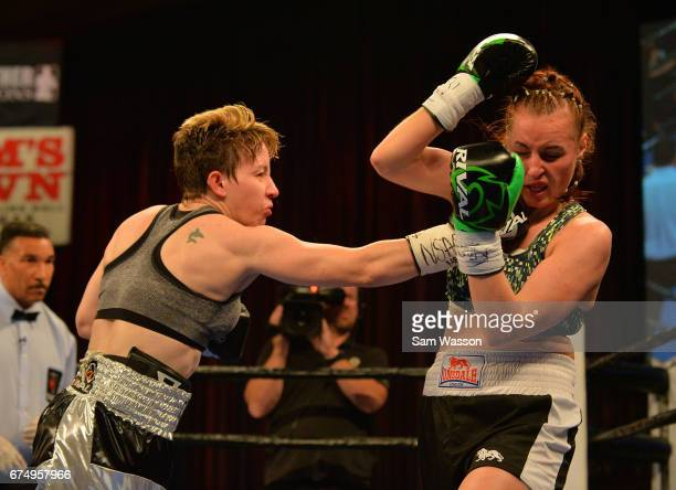 Layla McCarter throws a right at at Szilvia Szabados during their welterweight fight at Sam's Town Hotel Gambling Hall on April 29 2017 in Las Vegas...