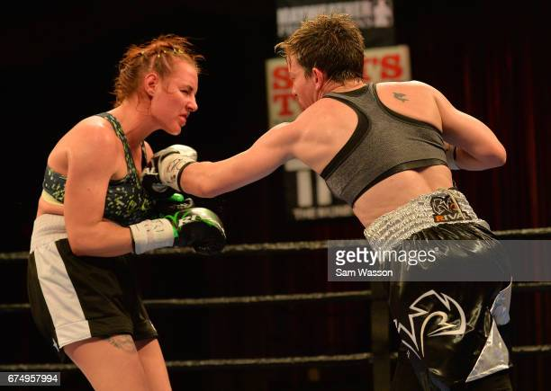 Layla McCarter throws a right at Szilvia Szabados during their welterweight fight at Sam's Town Hotel Gambling Hall on April 29 2017 in Las Vegas...