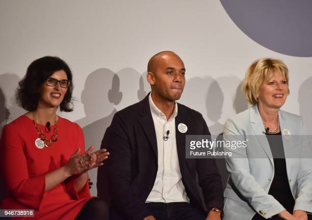 Layla Moran Chuka Umunna and Anna Soubry seen during People's Vote campaign on the Brexit deal launch event in Camden Town on April 15 2018 in London...