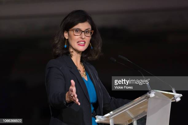 Layla Moran MP speaking at a proremain rally that rejects the Prime Minister's Brexit deal and demands a People's Vote held on November 14 2018 in...