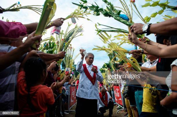 A layman of the Roman Catholic Church blesses palms during Palm Sunday celebrations in Bulacan north of Manila on April 9 2017 Palm Sunday marks the...