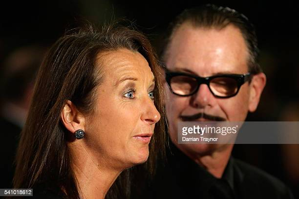 Layne Beachley and Kirk Pengilly arrive at the Prime Minister's Olympic Dinner at The Melbourne Convention and Exhibition Centre on June 18 2016 in...
