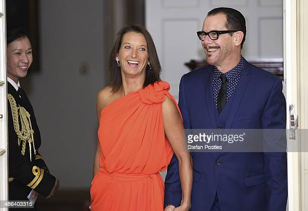 Layne Beachley and Kirk Pengilly arrive to a reception hosted by the Governor General Peter Cosgrove and Her excellency Lady Cosgrove at Government...