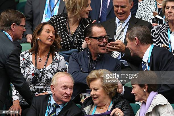 Layne Beachley and Kirk Pengilly watch the action at Rod Laver Arena during day nine of the 2015 Australian Open at Melbourne Park on January 27 2015...