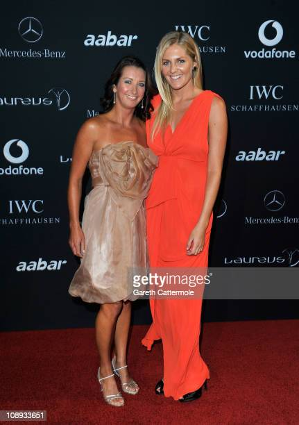Layne Beachley and Stephanie Gilmore attend the 2011 Laureus World Sports Awards at the Emirates Palace on February 7 2011 in Abu Dhabi United Arab...