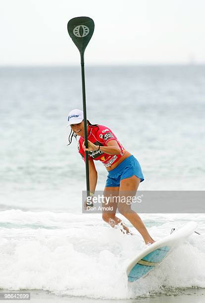 Layne Beachley competes in the paddleboard competition during the Beachley Classic Celebrity Challenge at Dee Why Beach on April 24 2010 in Sydney...