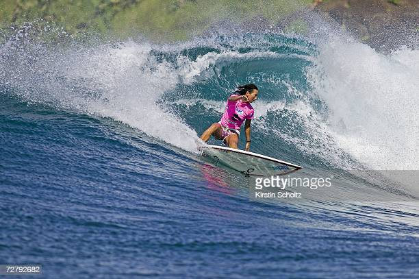 Layne Beachley of Sydney Australia wins an unprecedented seventh ASP World Title at the Billabong Pro when her only rival Chelsea Georgeson of...