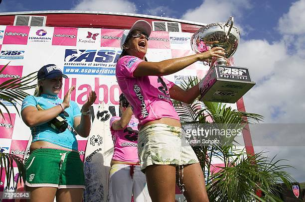 Layne Beachley of Sydney Australia wins an unprecedented seventh world title at the Billabong Pro Maui as her only rival Chelsea Georgeson of...