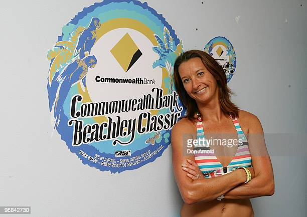 Layne Beachley poses just prior to the Beachley Classic Celebrity Challenge at Dee Why Beach on April 24 2010 in Sydney Australia