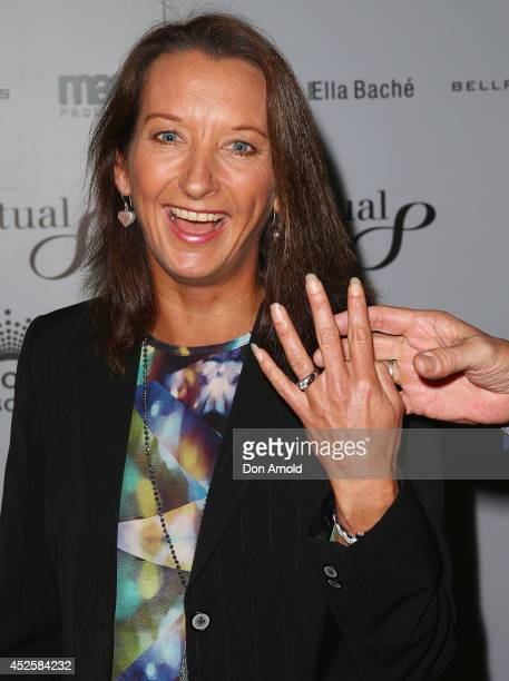 Layne Beachley shows off her wedding ring during the 'Clarkey For Kids Sports Lunch' at The Ivy on July 24 2014 in Sydney Australia