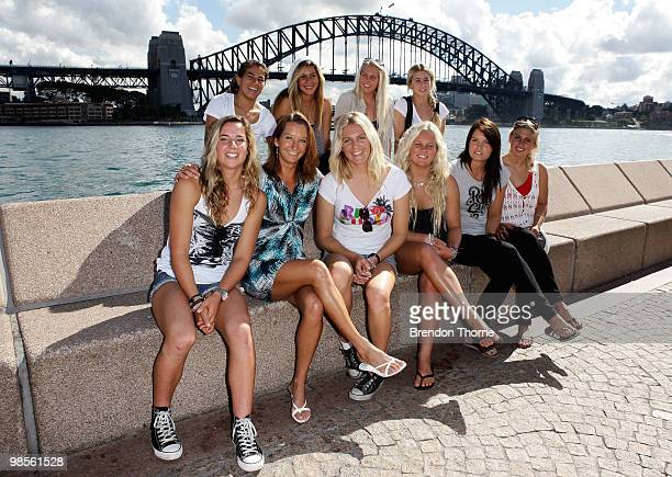 Layne Beachley Stephanie Gilmore Silvana Lima and last years Beachley Classic winner Tyler Wright pose with female wildcard surfers during the...