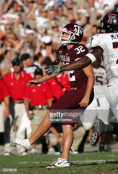 Layne Neumann of the Texas AM Aggies kicks a field goal during the game against the Texas Tech Red Raiders at Kyle Field on September 30 2006 in...
