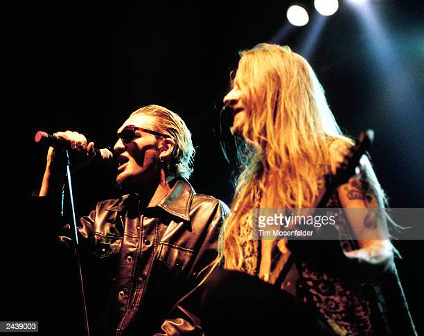 Layne Staley Left and Jerry Cantrell of Alice in Chains performing at the San Jose State Event Center in San Jose Calif on April 11th 1993 Photo by...