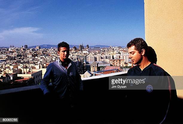 Layo Bushwacker aka Layo Paskin and Matthew 'Bushwacka' B pose during the Sonar festival on June 15 2002 in Barcelona Spain