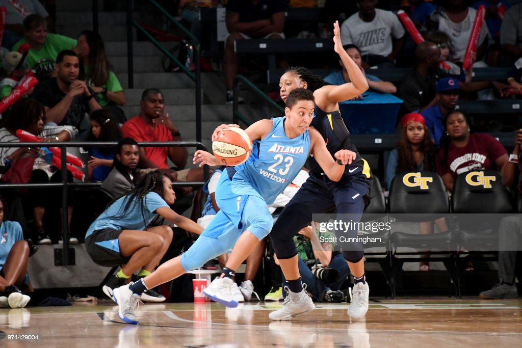 Layshia Clarendon #23 of the Atlanta Dream handles the ball against the Indiana Fever on June 14, 2018 at Hank McCamish Pavilion in Atlanta, Georgia.