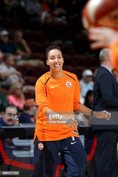 Layshia Clarendon of the Connecticut Sun warms up before the game against the New York Liberty on July 11 2018 at the Mohegan Sun Arena in Uncasville...
