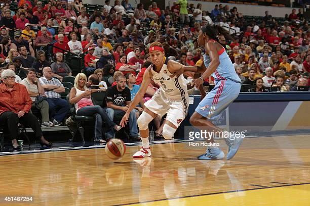 Layshia Clarendon of the Indiana Fever drives to the basket against the Atlanta Dream during their WNBA game on June 29 2014 at Bankers Life...
