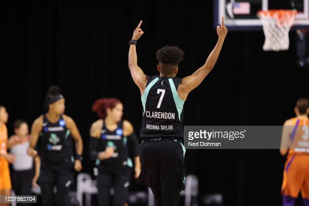 Layshia Clarendon of the New York Liberty celebrates during the game against the Phoenix Mercury on August 2, 2020 at Feld Entertainment Center in...