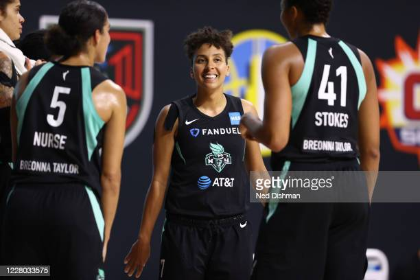 Layshia Clarendon of the New York Liberty smiles during the game against the Indiana Fever on August 13, 2020 at Feld Entertainment Center in...