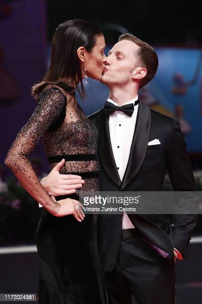 """Laysla De Oliveira and Jonathan Keltz walk the red carpet ahead of the """"Guest of Honour"""" screening during the 76th Venice Film Festival at Sala..."""