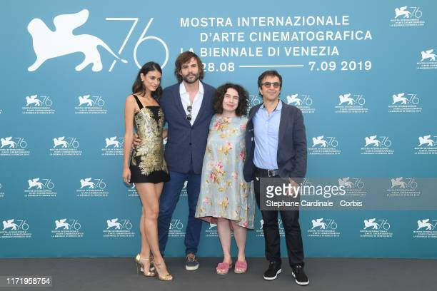 """Laysla De Oliveira, Rossif Sutherland, Arsinee Khanjian and director Atom Egoyan attend """"Guest of Honour"""" photocall during the 76th Venice Film..."""