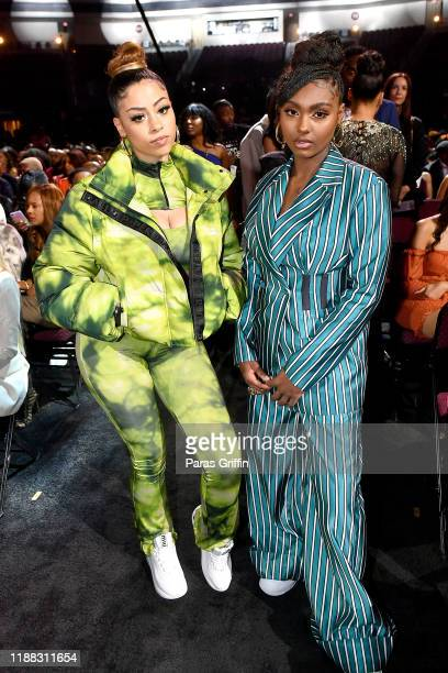 Layton Greene and Tiana Major9 attend the 2019 Soul Train Awards presented by BET at the Orleans Arena on November 17 2019 in Las Vegas Nevada