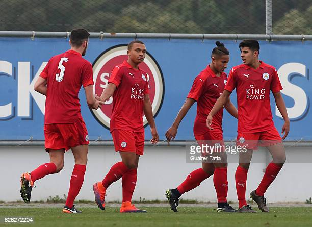 Layton Ndukwu of Leicester City FC celebrates with teammates after scoring a goal during the UEFA Youth Champions League match between FC Porto and...