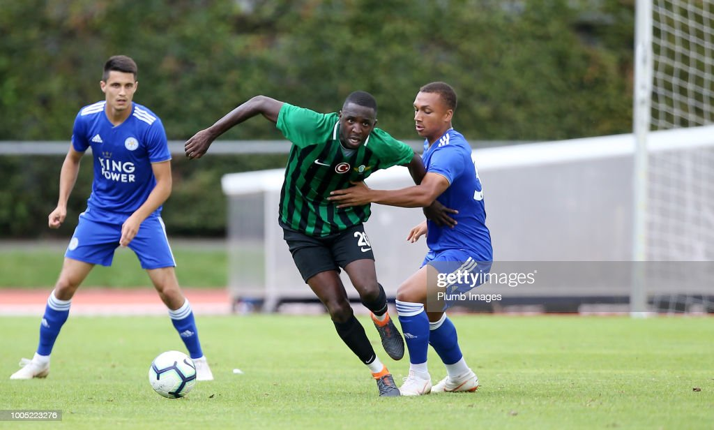 Layton Ndukwu of Leicester City in action with Addou Sissoko of Akhisarspor during the pre-season friendly match between Leicester City and Akhisarspor at Stadion Villach on July 25th, 2018 in Villach, Austria.