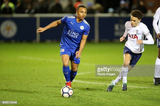 Layton Ndukwu of Leicester City in action with Luke Amos Tottenham Hotspur during the Premier League 2 match between Leicester City and Tottenham...