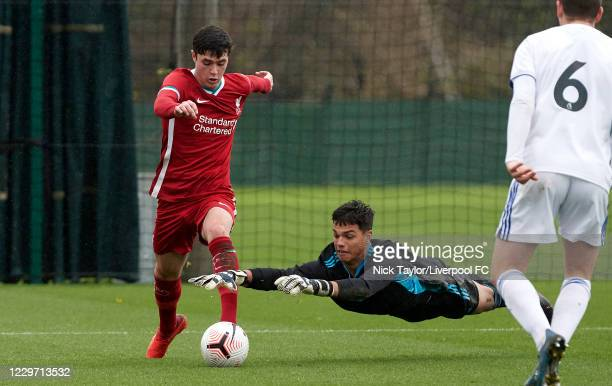 Layton Stewart of Liverpool and Dani van den Huevel of Leeds United in action at Melwood Training Ground on November 21, 2020 in Liverpool, England.