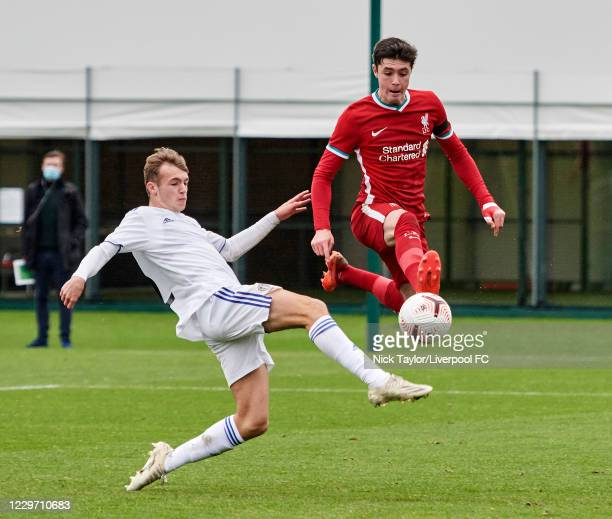 Layton Stewart of Liverpool and Harvey Sutcliffe of Leeds United in action at Melwood Training Ground on November 21, 2020 in Liverpool, England.