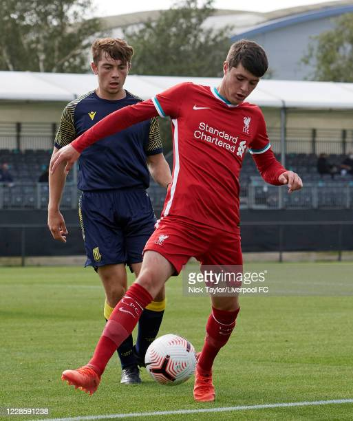 Layton Stewart of Liverpool and Henry Nash of Stoke City in action during the U18 Premier League game at The Kirkby Academy on September 19 2020 in...