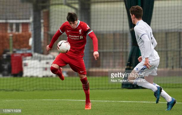 Layton Stewart of Liverpool and Joe Littlewood of Leeds United in action at Melwood Training Ground on November 21, 2020 in Liverpool, England.