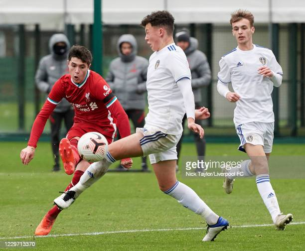 Layton Stewart of Liverpool and Kris Moore of Leeds United in action at Melwood Training Ground on November 21, 2020 in Liverpool, England.