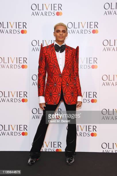 Layton Williams poses in the press room at The Olivier Awards 2019 with Mastercard at The Royal Albert Hall on April 7 2019 in London England