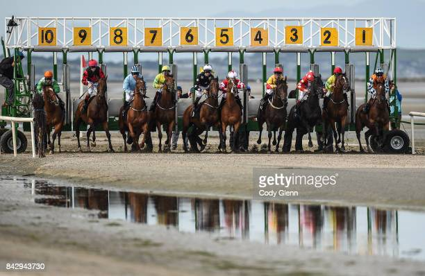 Laytown Ireland 5 September 2017 Eventual winner Captain Bob running out of starting gate 1 far right and their 10 rivals start the At The Races...