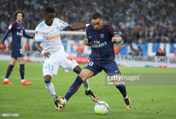Layvin Kursawa of PSG Bouna Sarr of OM during the French Ligue 1 match between Olympique de Marseille and Paris Saint Germain at Stade Velodrome on...
